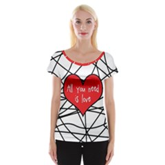 Love Abstract Heart Romance Shape Cap Sleeve Tops