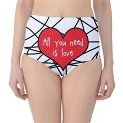 Love Abstract Heart Romance Shape High Waist Bikini Bottoms