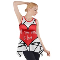 Love Abstract Heart Romance Shape Side Drop Tank Tunic