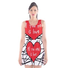 Love Abstract Heart Romance Shape Scoop Neck Skater Dress
