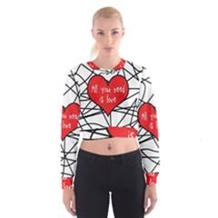 Love Abstract Heart Romance Shape Cropped Sweatshirt