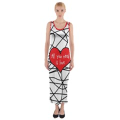 Love Abstract Heart Romance Shape Fitted Maxi Dress