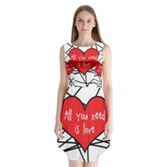 Love Abstract Heart Romance Shape Sleeveless Chiffon Dress
