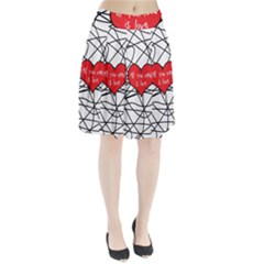 Love Abstract Heart Romance Shape Pleated Skirt