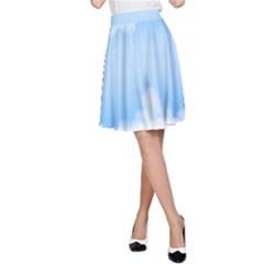 Sky Cloud Blue Texture A Line Skirt