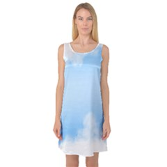 Sky Cloud Blue Texture Sleeveless Satin Nightdress