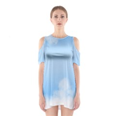 Sky Cloud Blue Texture Shoulder Cutout One Piece