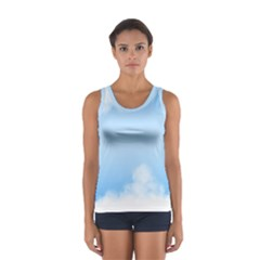 Sky Cloud Blue Texture Sport Tank Top