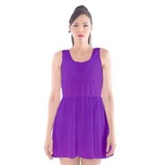 Halftone Background Pattern Purple Scoop Neck Skater Dress