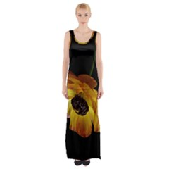 Ranunculus Yellow Orange Blossom Maxi Thigh Split Dress