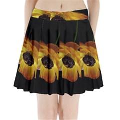 Ranunculus Yellow Orange Blossom Pleated Mini Skirt