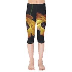 Ranunculus Yellow Orange Blossom Kids  Capri Leggings