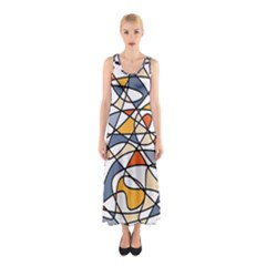 Abstract Background Abstract Sleeveless Maxi Dress