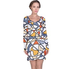 Abstract Background Abstract Long Sleeve Nightdress