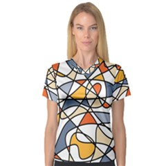 Abstract Background Abstract V Neck Sport Mesh Tee