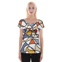 Abstract Background Abstract Cap Sleeve Tops
