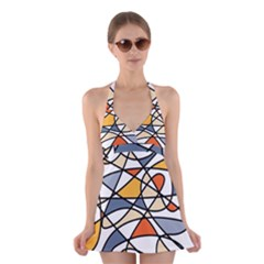 Abstract Background Abstract Halter Swimsuit Dress