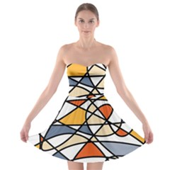 Abstract Background Abstract Strapless Bra Top Dress