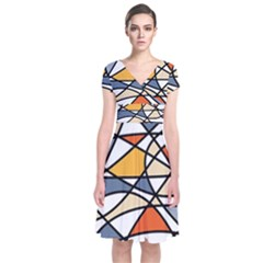 Abstract Background Abstract Short Sleeve Front Wrap Dress