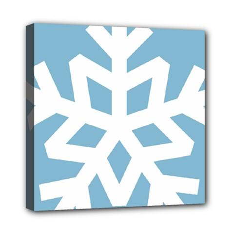 Snowflake Snow Flake White Winter Mini Canvas 8  X 8