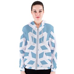 Snowflake Snow Flake White Winter Women s Zipper Hoodie