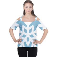 Snowflake Snow Flake White Winter Cutout Shoulder Tee