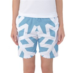 Snowflake Snow Flake White Winter Women s Basketball Shorts