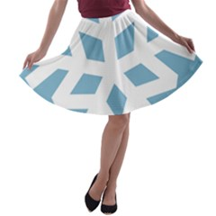 Snowflake Snow Flake White Winter A Line Skater Skirt