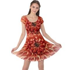Dahlia Flower Joy Nature Luck Cap Sleeve Dress