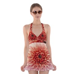 Dahlia Flower Joy Nature Luck Halter Swimsuit Dress