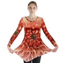 Dahlia Flower Joy Nature Luck Long Sleeve Tunic