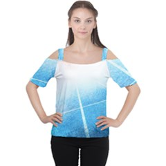 Court Sport Blue Red White Cutout Shoulder Tee