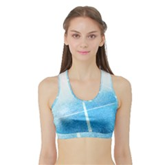 Court Sport Blue Red White Sports Bra With Border