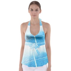 Court Sport Blue Red White Babydoll Tankini Top