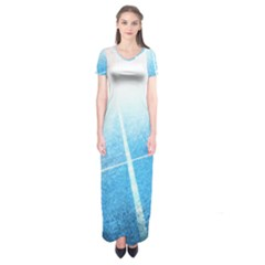 Court Sport Blue Red White Short Sleeve Maxi Dress
