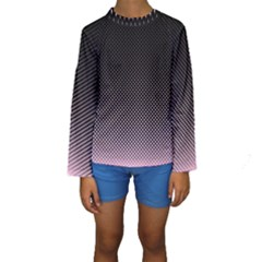 Halftone Background Pattern Black Kids  Long Sleeve Swimwear