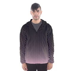 Halftone Background Pattern Black Hooded Wind Breaker (men)