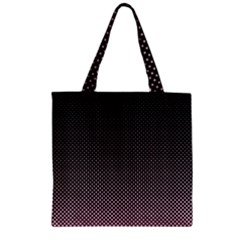 Halftone Background Pattern Black Zipper Grocery Tote Bag