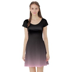 Halftone Background Pattern Black Short Sleeve Skater Dress