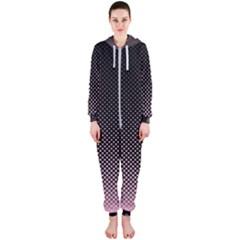 Halftone Background Pattern Black Hooded Jumpsuit (ladies)