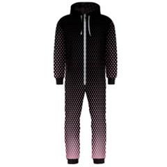 Halftone Background Pattern Black Hooded Jumpsuit (men)