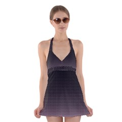 Halftone Background Pattern Black Halter Swimsuit Dress