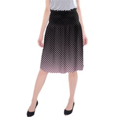 Halftone Background Pattern Black Midi Beach Skirt
