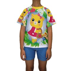 Bear Strawberries Kids  Short Sleeve Swimwear
