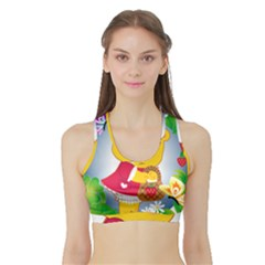 Bear Strawberries Sports Bra With Border