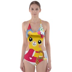 Bear Strawberries Cut Out One Piece Swimsuit