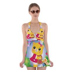 Bear Strawberries Halter Swimsuit Dress