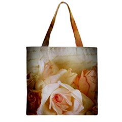 Roses Vintage Playful Romantic Zipper Grocery Tote Bag