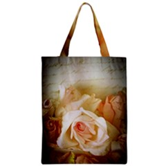Roses Vintage Playful Romantic Zipper Classic Tote Bag