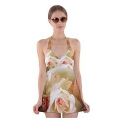 Roses Vintage Playful Romantic Halter Swimsuit Dress